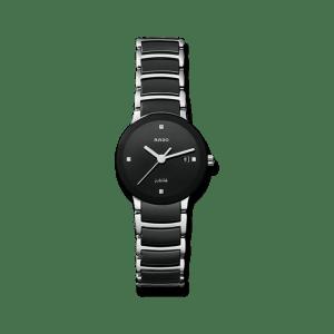 Rado Centrix Diamonds S Quarz Damenuhr mit Diamanten, schwarzem Zifferblatt und Edelstahlarmband