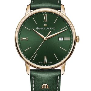 Green is the new black! Mit dieser ELIROS Date 40mm liegen Sie am Puls der Zeit: Das grüne Zifferblatt mit Sonnenschliff wird gefasst von einem roségoldfarben beschichteten Gehäuse, dessen Farbe auch von den Zeigern und Stundenmarkern wieder aufgenommen wird. Das Lederband in passendem Grün mit beigen Abnähern rundet den frischen, modernen Look der Uhr ab. Dank der Datumsanzeige auf 3 Uhr und des zuverlässigen Quarzwerks ist auch kompromisslose Funktionalität gegeben.