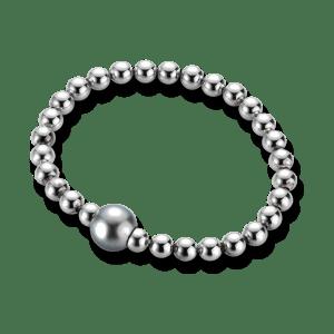Gellner Flex Armband aus 925 weißes Silber mit Tahiti-Perle