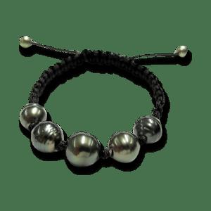 Gellner Armschmuck Divers. Gellner Basic PS Armband aus Nylon mit 7 Tahiti-Perlen.