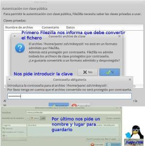 Exportar clave ssh a Filezilla