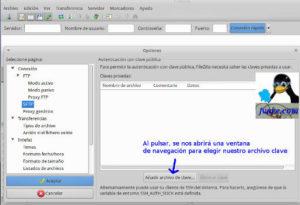 Configurar Filezilla para usar ssh