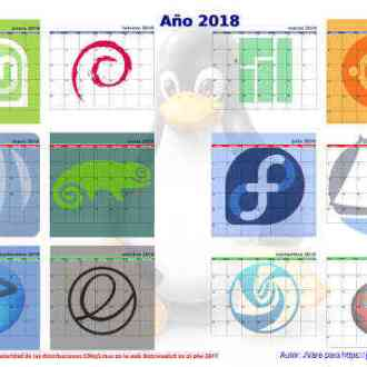 Un calendario linuxero de 2018 para pared