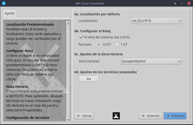 MX Linux localización y zona horaria