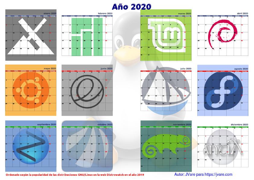 Feliz 2020 con el calendario linuxero