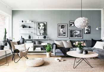 sala de estar color gris con blanco