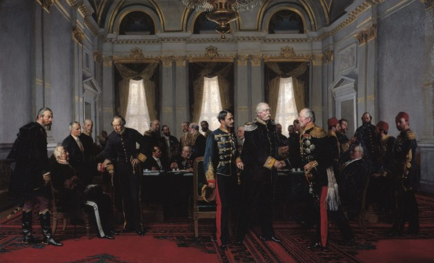 Anton von Werner, Congress of Berlin (1881): Final meeting at the Reich Chancellery on 13 July 1878, Bismarck between Gyula Andrássy and Pyotr Shuvalov, on the left Alajos Károlyi, Alexander Gorchakov (seated) and Benjamin Disraeli