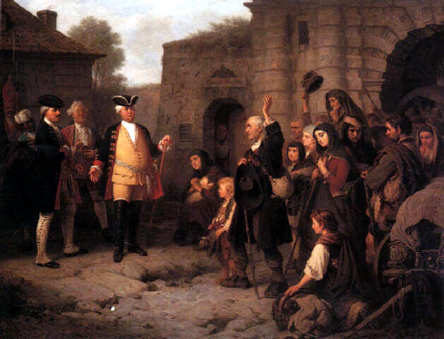 Friedrich Wilhelm I receives the Lutherans from Salzburg at the Leipziger Gate in 1732, painting by Constantin Kretius