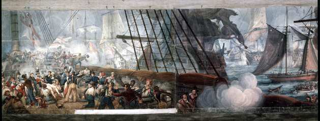 Panorama of the Battle of Trafalgar by William Lionel Wyllie - The fixed idea of British Naval Tradition