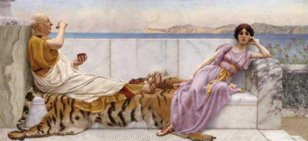 John William Godward painting purported to show Caesar and Cleopatra
