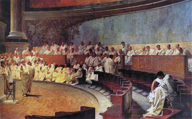 Representation of a sitting of the Roman Senate - Cicero attacking Catilina, from a 19th-century fresco