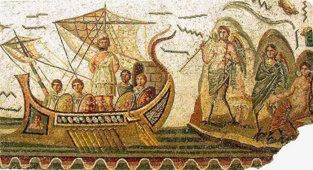 Mosaic of a Roman warship
