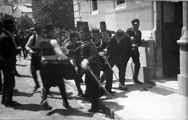 This photograph has often been claimed to show the actucal arrest of Gavrilo Princip but has been established to show the detention of innocent bystander Ferdinand Behr