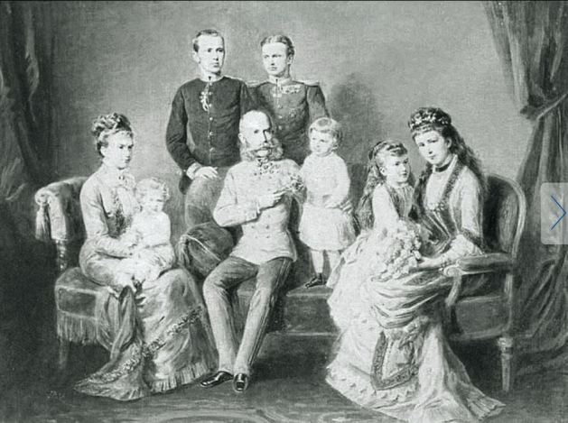 Francis Joseph and Elisabeth (Sisi) and their children - Crown Prince Rudolf, Archduchess Marie Valerie, Archduchess Gisela and her husband, Prince Leopold of Bavaria and their grandchildren