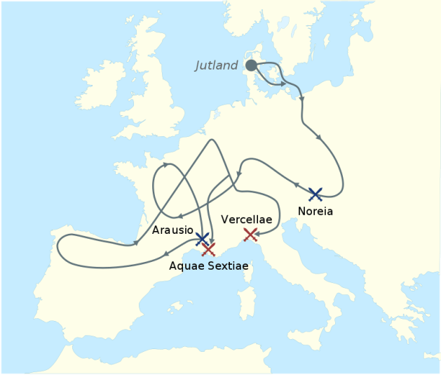 The migrations of the Cimbri and the Teutones