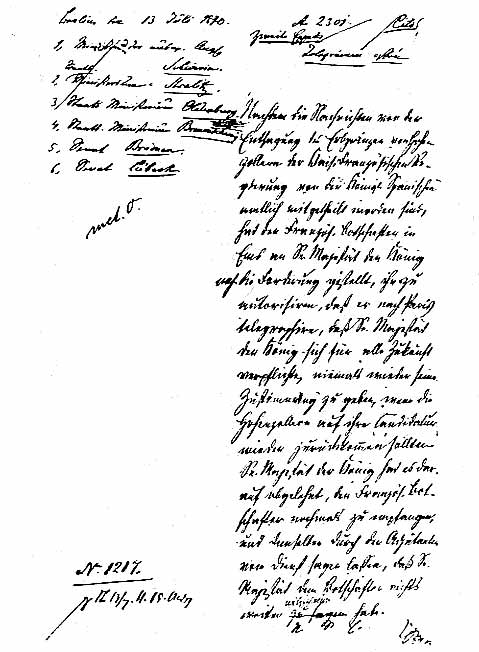 Bismarck's Draft of the Dispatch from Ems