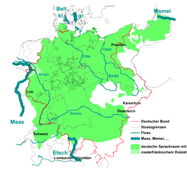 """Linguistic Map of Germany around 1870, with the names of the German border rivers as mentioned in August Heinrich Hoffmann von Fallersleben's """"Song of the Germans"""", which became the national anthem in 1922"""