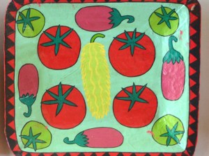 Papier Maché Tray  (Painted Tomatoes, Cucumber and Aubergine)