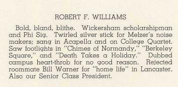 Robert F Williams Yearbook Bio