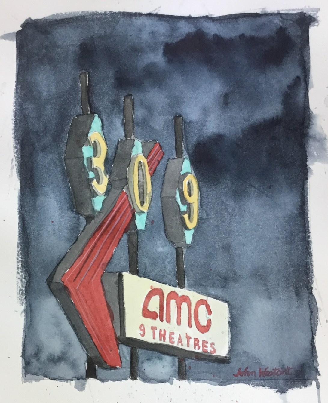 309 Cinema Sign at Dusk