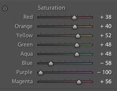 Adobe Lightroom HSL saturation panel