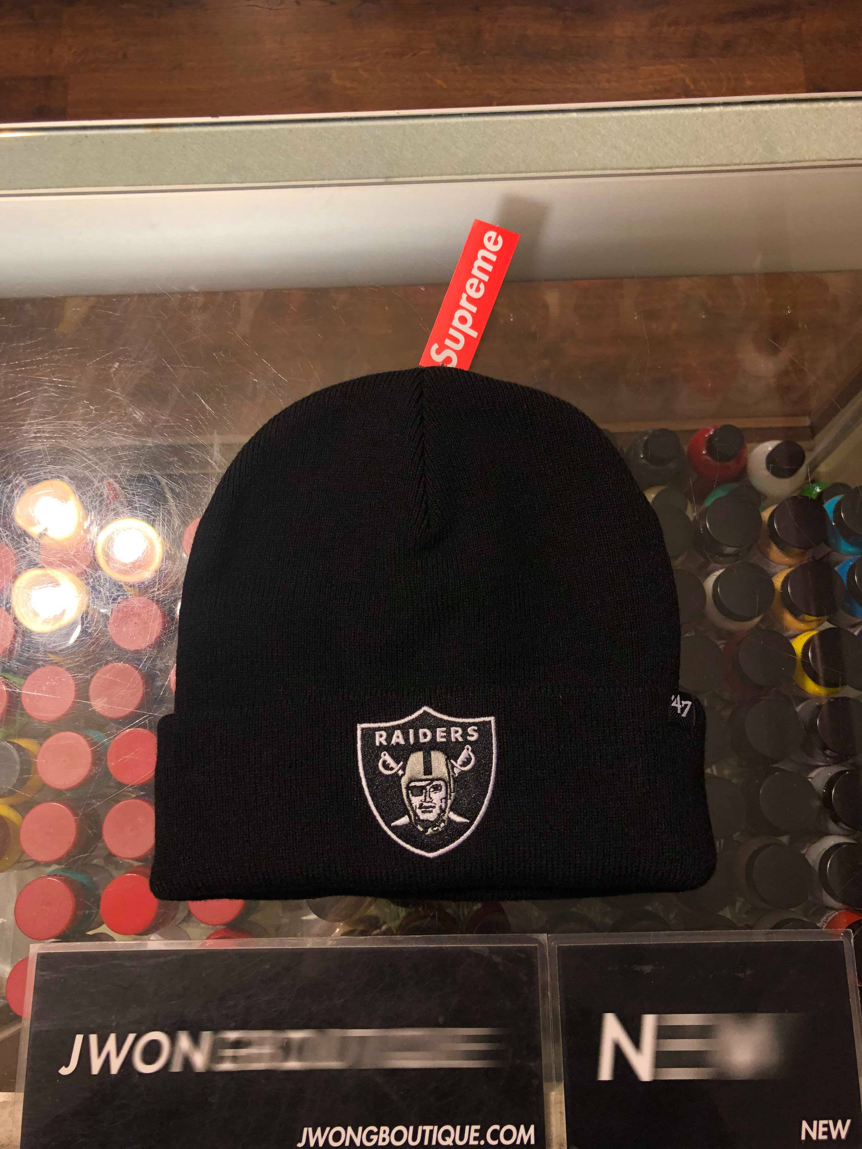 192e40cc8 2019 2019 Supreme NFL x Raiders x 47 Beanie Black