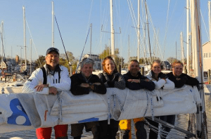 The ETG return team at the J World dock after a successful return to Annapolis.