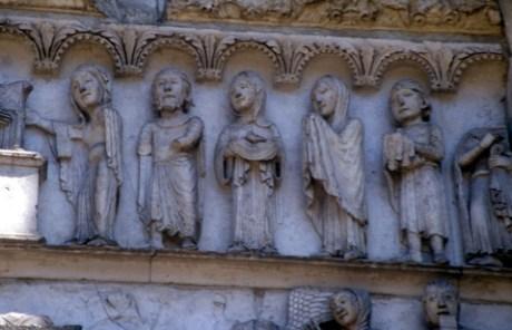 Upper lintel of right portal, west facade.  Cathédrale de Chartres Chartres France 1145