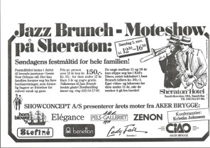Jazz Brunch - Moteshow på Sheraton 1987