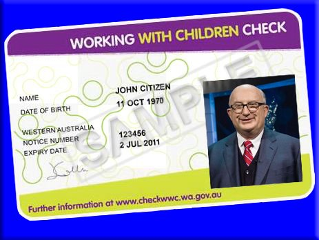 Sample Working With Children Card