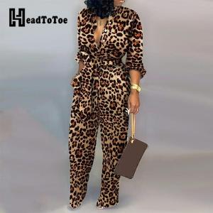 Leopard Tied Waist Long Sleeve Jumpsuit Women Rompers Fashion One Piece Overalls Casual Jumpsuits Streetwear Dropshipping