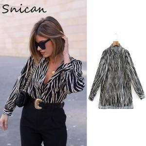 Snican Black Zebra Striped Satin Shirts Spring Long Sleeve Office Ladies Blouse Haut Femme Elegant Sprint Za Tops 2021 Camisa