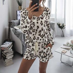 2021 Leopard Pajama Set Women Loungewear Sleepwear Homewear Pjs Women Lounge Wear Set Ladies Home Suit Sleep Wear