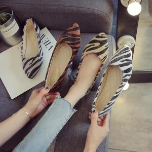 2021 Fashion Pointed Toe Flats Shoes Women Slip On Loafers Comfortable Ballet Zebra Pattern Shoe Big Size 33-43 Zapatillas Mujer