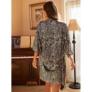 JULY'S SONG 3PCS  Womens Pajamas Sets Elegant Zebra Pat Faux Silk Satin Sleepwear With Belt Ladies Spring Summer Pajama Female