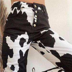 INS Trend Personality High Street Cow Zebra Pocket Metal Buckle High Waist Straight Pants Slim Casual Pants Women Streetwear