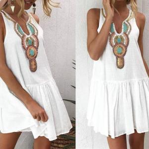 HIRIGIN Floral Print Vintage Summer Dress Women Casual V Neck Streetwear Back Button Boho Tunic Pleated Womens Beach Dresses