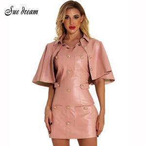 High Quality 2020 New Women'S Pink Cloak Sleeve Two-Piece Pu Leather Mini Dress Sexy Bodycon Club Party Dress Vestidos