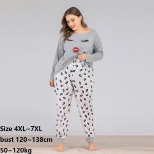 Pajamas Sets Spring Autumn Plus Size 5XL 6XL 7XL Women Long Sleepwear Suit Home Women Female Sleepwear