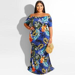 Off Shoulder Dress Plus Size Women Summer Short Sleeve Floral Print Slim Bodycon Mermaid Dresses Maxi Long Party Dress