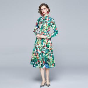 Banulin Autumn Fashion Runway Ruffles Pleated Party Dress Women's Long Sleeve Floral Print Button Elegant Bohemia Midi Dress