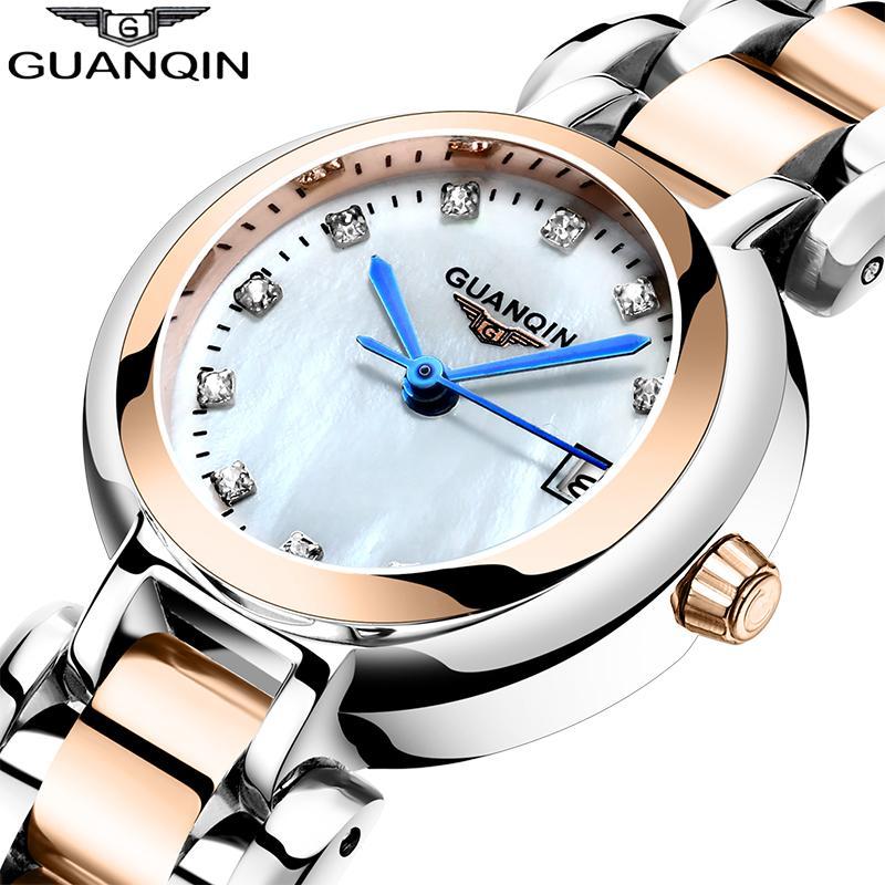 GUANQIN Women watch Elegant dress luxury Pearl dial waterproof watch Montre Femme ladies fashion quartz watch Relogio Feminino