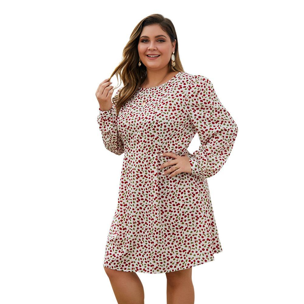 New spring autumn plus size knee length dress for women large long sleeve loose casual red floral print dress 4XL 5XL 6XL 7XL