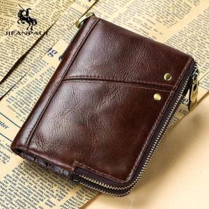 JIFANPAUL leather men's wallet, multi-card position multi-function double zipper vertical wallet, fashion casual coin purse