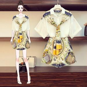 Women Summer Fashion Print Scarf Bow Shirt Top + Wide Leg Short Set 2 Piece Outfits Female Vintage Loose Blouses Short Pant Set