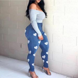 Heart Print Jeans For Women Slim Skinny Bodycon Denim Jean Pantalon Femme Pencil Pants Trousers Plus Size XL-5XL