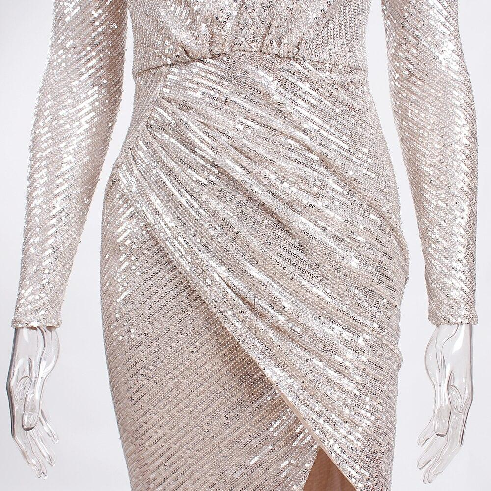 Sexy Hollow Out Halter Sequined Party Dress Full Sleeved Deep V Neck Split Leg Long Dress Stretchy Sequined Maxi Dress