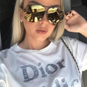 Black Pilot Sunglasses women Men Silver Mirror oversized Metal luxury brand Sunglasses female big Gradient Shades Eyewear UV400