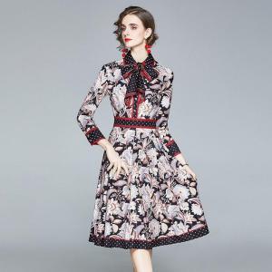 Runway Dress 2020 Women Autumn Long Sleeve Robe Femme High Quality Floral Print Elegant Bow Party Mini Dress Vestidos