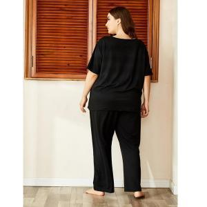 Ladies spring autumn plus size pajamas for women short sleeve black print T-shirt and long pants home wear suit 4XL 5XL 6XL 7XL